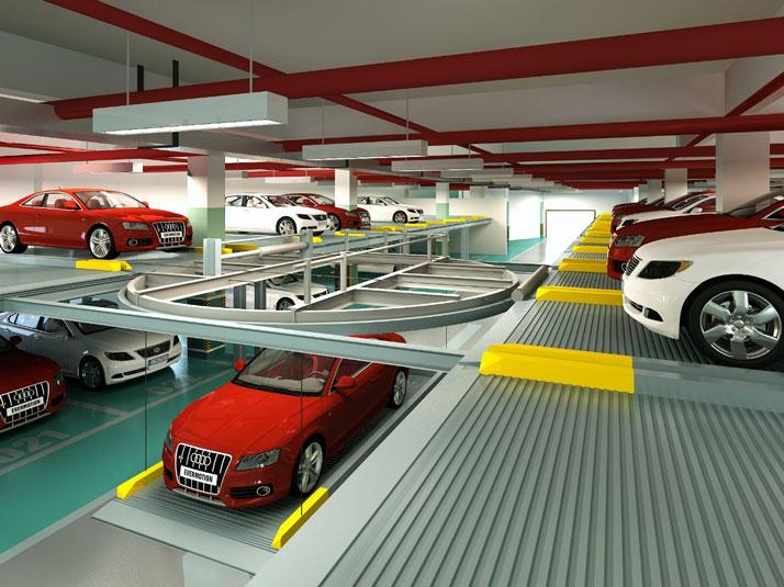 智能多层钢结构车库结构效果图